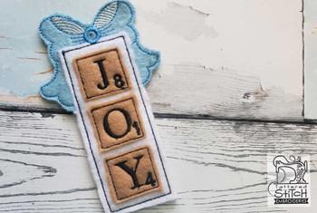 "Joy Scrabble Ornament - Fits a 5x7"" Hoop - Machine Embroidery Designs"