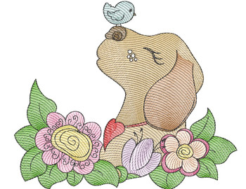 """Whimsical Pup 1 (No Quilt Block Background) -Fits a  4x4"""", 5x7""""&  8x8"""" Hoop - Machine Embroidery Designs"""