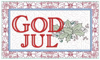 "God Jul Block - Fits a  6x10"", 8x12""  & 8x14""  Hoop - Machine Embroidery Designs"