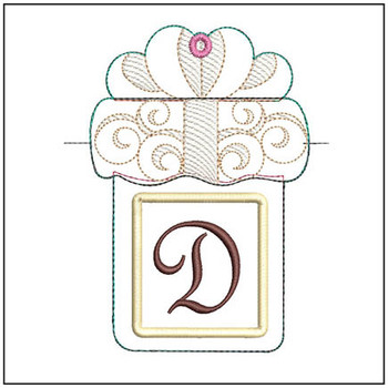 "Present Gift Card Holder ABCs - D - Fits a   5x7"" Hoop - Machine Embroidery Designs"