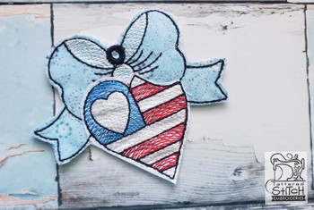 "Patriotic Heart Ornament - Fits a 5x7"" Hoop - Machine Embroidery Designs"