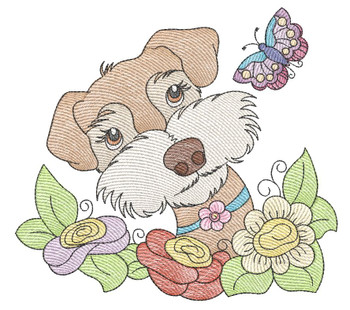 """Whimsical Pup 2 (No Quilt Block Background) -Fits a  4x4"""", 5x7""""&  8x8"""" Hoop - Machine Embroidery Designs"""