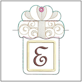 "Present Gift Card Holder ABCs - E - Fits a   5x7"" Hoop - Machine Embroidery Designs"