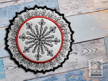 "Diamond Snowflake Coaster - Fits a 5x7"" Hoop - Machine Embroidery Designs"
