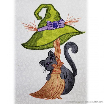 Broomstick Kitty Applique - Embroidery Designs