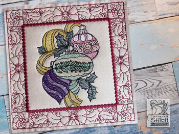 "Ornament Trio Quilt Block #4 - Fits a  5x5"", 6x6"", 7x7"", 8x8"" & 10x10""  Hoop - Machine Embroidery Designs"