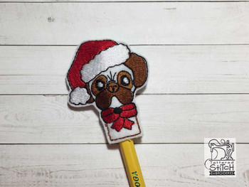 "Christmas Pug Finger Puppet - Fits a  4x4""  Hoop - Machine Embroidery Designs"