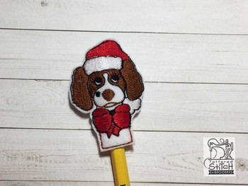 "Christmas Springer Finger Puppet - Fits a  4x4""  Hoop - Machine Embroidery Designs"