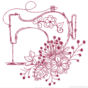 Vintage Sewing Machine Redwork - Embroidery Designs