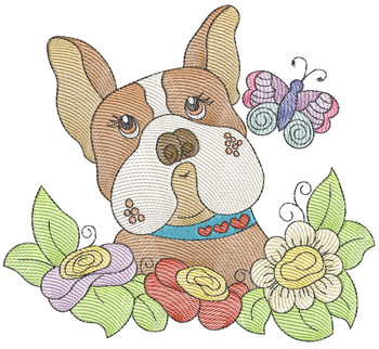"Whimsical Pup 3 (No Quilt Block Background) -Fits a  4x4"", 5x7""&  8x8"" Hoop - Machine Embroidery Designs"