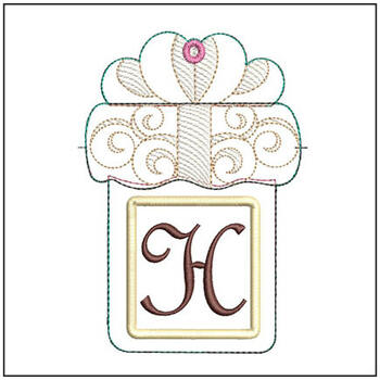 "Present Gift Card Holder ABCs - H - Fits a   5x7"" Hoop - Machine Embroidery Designs"