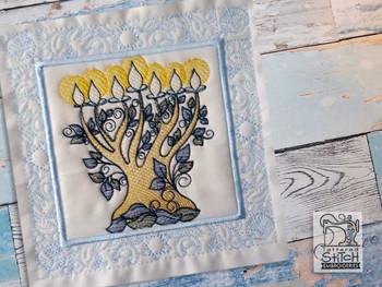 "Menorah Quilt Block- Fits a 5x5"", 6x6"", 7x7"", 8x8"" & 10x10""  Hoop - Machine Embroidery Designs"