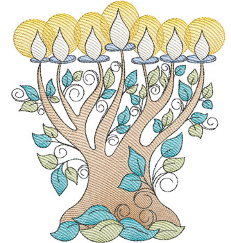 "Menorah - Fits a  4x4"", 5x7"" &  8x8"" Hoop - Machine Embroidery Designs"