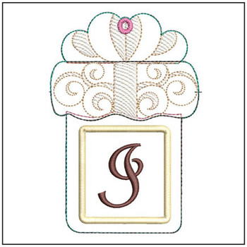 "Present Gift Card Holder ABCs - I - Fits a   5x7"" Hoop - Machine Embroidery Designs"