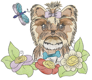 "Whimsical Pup 5 (No Quilt Block Background) -Fits a  4x4"", 5x7""&  8x8"" Hoop - Machine Embroidery Designs"