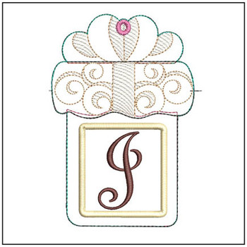 "Present Gift Card Holder ABCs - J - Fits a   5x7"" Hoop - Machine Embroidery Designs"