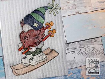 "Skiing Gnome - Fits a  4x4"", 5x7"" &  6x10"" Hoop - Machine Embroidery Designs"