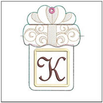 "Present Gift Card Holder ABCs - K - Fits a   5x7"" Hoop - Machine Embroidery Designs"