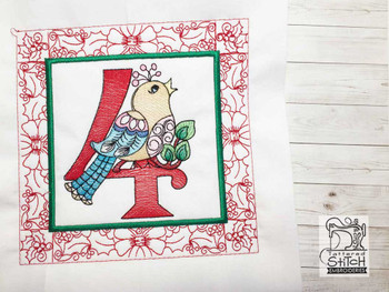 "12 Days of Christmas QB - 4 - Fits a  5x5"", 6x6"", 7x7"", 8x8"" & 10x10""  Hoop - Machine Embroidery Designs"
