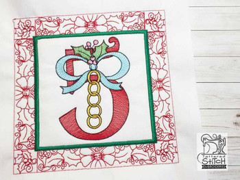 "12 Days of Christmas QB - 5 - Fits a  5x5"", 6x6"", 7x7"", 8x8"" & 10x10""  Hoop - Machine Embroidery Designs"