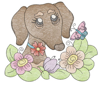 "Whimsical Pup 6 (No Quilt Block Background) -Fits a  4x4"", 5x7""&  8x8"" Hoop - Machine Embroidery Designs"