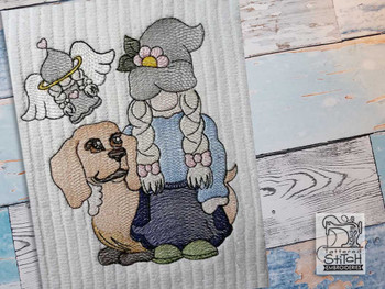 "Gnome with Angel & Doxie - Fits a  4x4"", 5x7"" &  6x10"" Hoop - Machine Embroidery Designs"