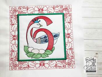 "12 Days of Christmas QB - 6 - Fits a  5x5"", 6x6"", 7x7"", 8x8"" & 10x10""  Hoop - Machine Embroidery Designs"