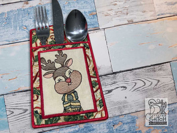 "Reindeer Silverware Pouch - Fits a 5x7""Hoop - Machine Embroidery Designs"