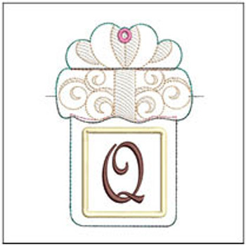 "Present Gift Card Holder ABCs - Q - Fits a   5x7"" Hoop - Machine Embroidery Designs"