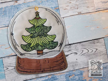 "Evergreen Snow Globe Ornament - In the Hoop - Fits a 5x7"" Hoop - Machine Embroidery Designs"