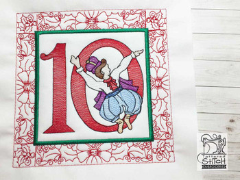 "12 Days of Christmas QB - 10 - Fits a  5x5"", 6x6"", 7x7"", 8x8"" & 10x10""  Hoop - Machine Embroidery Designs"