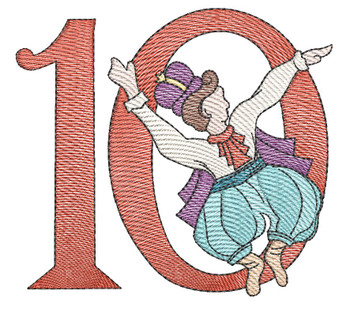 "12 Days of Christmas 10 (No Quilt Block Background) - Fits a  4x4"", 5x7"" & 8x8"" Hoop - Machine Embroidery Designs"