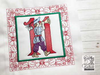 "12 Days of Christmas QB - 11 - Fits a  5x5"", 6x6"", 7x7"", 8x8"" & 10x10""  Hoop - Machine Embroidery Designs"