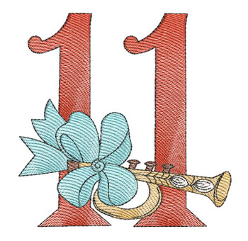 "12 Days of Christmas 11 (No Quilt Block Background) - Fits a  4x4"", 5x7"" & 8x8"" Hoop - Machine Embroidery Designs"