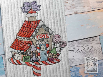 "Gnomes Toy Store - Fits a  4x4"", 5x7"" &  6x10"" Hoop - Machine Embroidery Designs"