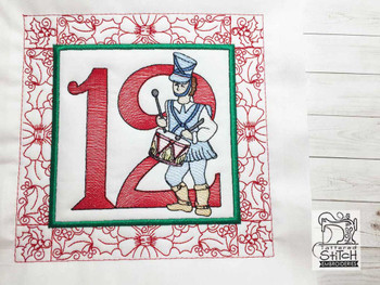 "12 Days of Christmas QB - 12 - Fits a  5x5"", 6x6"", 7x7"", 8x8"" & 10x10""  Hoop - Machine Embroidery Designs"