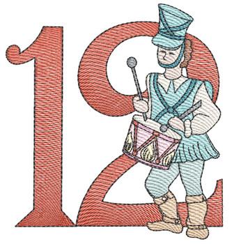 "12 Days of Christmas 12 (No Quilt Block Background) - Fits a  4x4"", 5x7"" & 8x8"" Hoop - Machine Embroidery Designs"