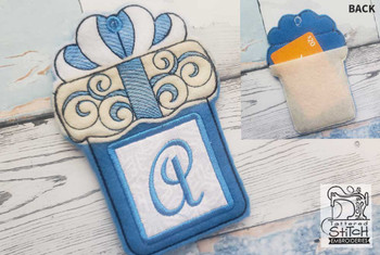 "Present Gift Card Holder ABCs - V - Fits a 5x7"" Hoop - Machine Embroidery Designs"