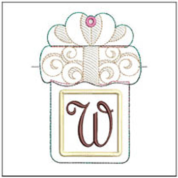 "Present Gift Card Holder ABCs - W - Fits a 5x7"" Hoop - Machine Embroidery Designs"