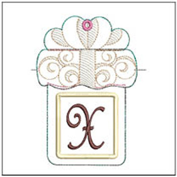 "Present Gift Card Holder ABCs - X - Fits a 5x7"" Hoop - Machine Embroidery Designs"