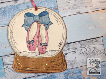 "Ballet Slipper Snow Globe Ornament - In the Hoop - Fits a 5x7"" Hoop - Machine Embroidery Designs"