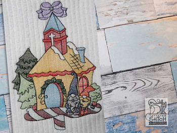 "Gnomes & Church  - Fits a  4x4"", 5x7"" &  6x10"" Hoop - Machine Embroidery Designs"