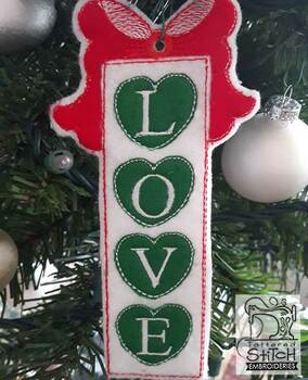 "Hearts Love Ornament - Fits a 5x7"" Hoop - Machine Embroidery Designs"