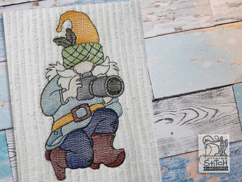 "Camera Gnome  - Fits a  4x4"", 5x7"" &  6x10"" Hoop - Machine Embroidery Designs"