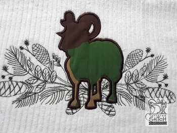 "Woodland Big Horn Sheep Applique - Fits into a 5x7"", 6x10"" & 8x11"" Hoop - Instant Downloadable Machine Embroidery"