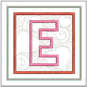 "Hearts ABCs Coaster- E - Fits a 5x7"" Hoop - Machine Embroidery Designs"