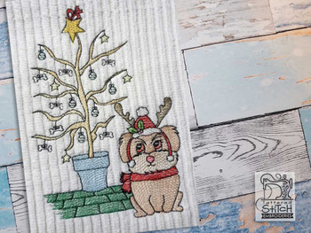 "Reindeer Pup - Fits a  5x7"" & 8x8"" Hoop - Machine Embroidery Designs"