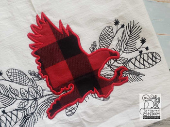 "Woodland Eagle Applique - Fits into a 5x7"", 6x10"" & 8x11"" Hoop - Instant Downloadable Machine Embroidery"
