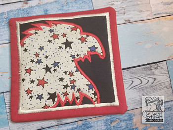 "Eagle Applique Coaster - Fits a 5x7"" Hoop - Machine Embroidery Designs"