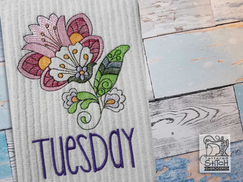 """Jacobean - Tuesday - Fits into a 4x4"""" & 5x7"""" Hoop - Instant Downloadable Machine Embroidery"""